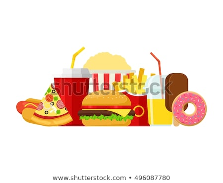 Fast-food rosquinha sanduíche conjunto pôsteres Foto stock © robuart