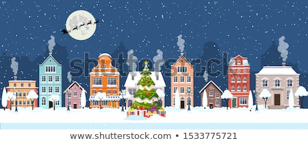 city winter night santa on a sleigh stock photo © liolle