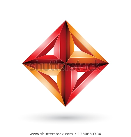 Stock photo: Orange and Red 3d Geometrical Embossed Diamond Shape Vector Illu