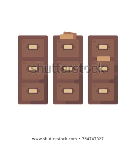 Library card catalog flat illustration. Old document storage ico Stock photo © IvanDubovik