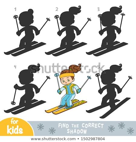 Oktatási árnyékok játék aranyos lány rajz Stock fotó © izakowski