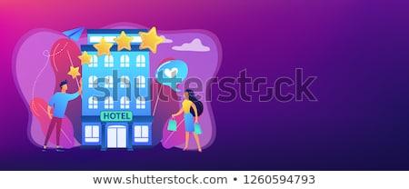 Boutique hotel bandeira pessoas de negócios estrelas Foto stock © RAStudio