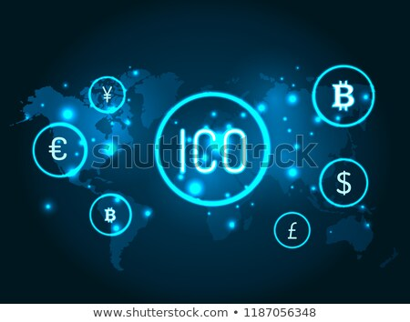 ico and currencies icons with globe map vector stock photo © robuart