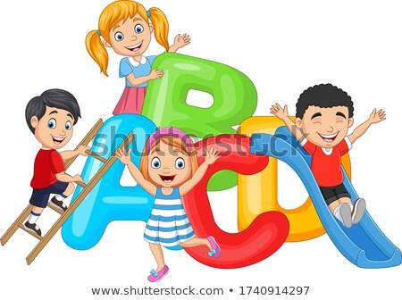 kid boy mascot shapes friends illustration stock photo © lenm