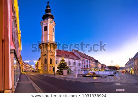 Bad Radkersburg main square and church evening advent view Stock photo © xbrchx