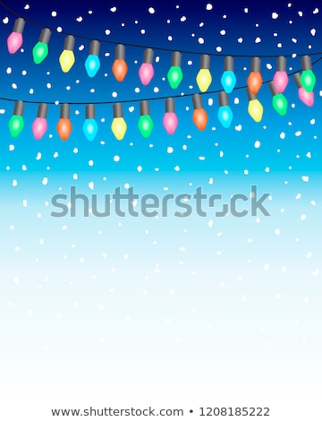 Christmas snow. Falling white snowflakes on dark background. Xmas Color garland, festive decorations Stock photo © olehsvetiukha