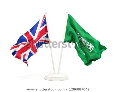 Dois bandeiras Arábia Saudita isolado branco Foto stock © MikhailMishchenko