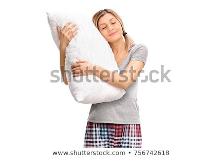 Lány pizsama ölel párna illusztráció baba Stock fotó © colematt