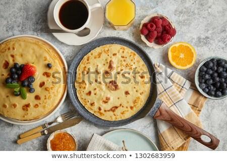 reggeli · asztal · friss · gyümölcsök · palacsinták · kávé - stock fotó © dash