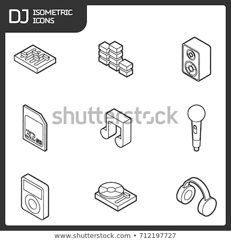 dj outline isometric icons stock photo © netkov1