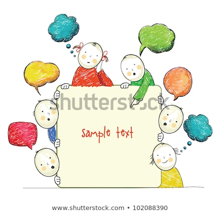 Stock photo: Doodle children with  speech balloon