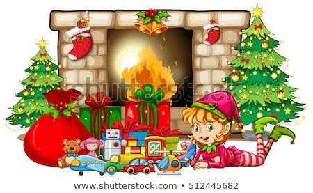 Natal elfo brinquedos lareira ilustração feliz Foto stock © colematt