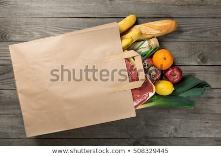 satın · alma · meyve · portre · kadın · turuncu · alışveriş · çantası - stok fotoğraf © illia