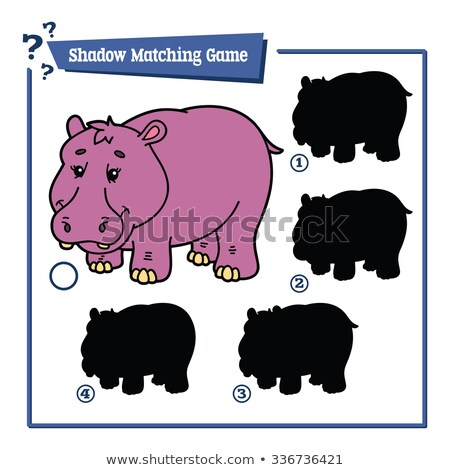 match shadows activity with funny hippos Stock photo © izakowski