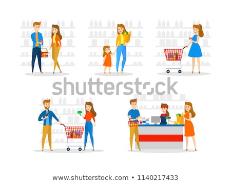 Supermarket Worker Man Male with Fruits Vector Stock photo © robuart