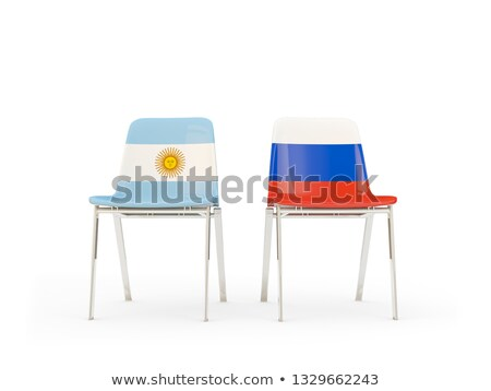 Two chairs with flags of Argentina and russia Stock photo © MikhailMishchenko