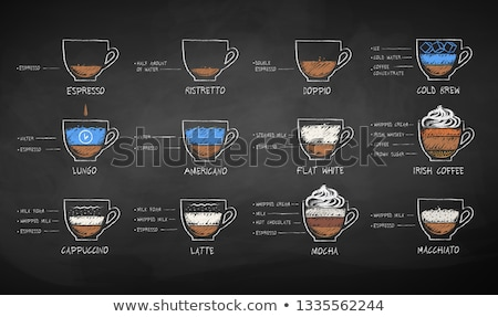 Chalk drawn sketches collection of coffee recipes Stock photo © Sonya_illustrations