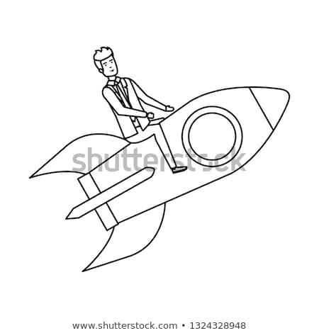 Stok fotoğraf: Işadamı · uçan · roket · başlangıç · yeni · proje