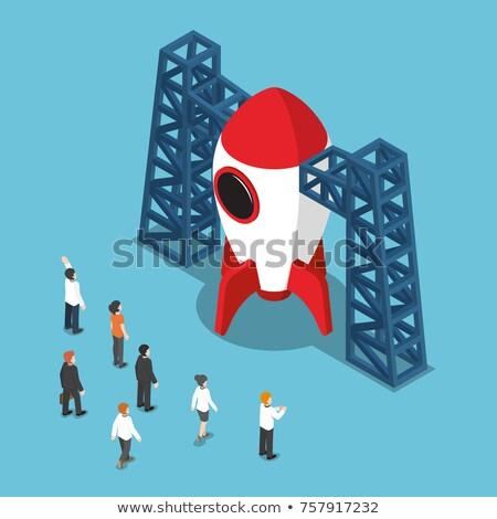 businessman looking up isometric 3d illustration stock photo © rastudio