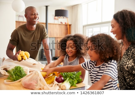 Shopping Family Carrying Bags, Returning Home Stock photo © robuart