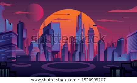 futurystyczny · Cityscape · streszczenie · ilustracja · panoramę · drogowego - zdjęcia stock © jossdiim