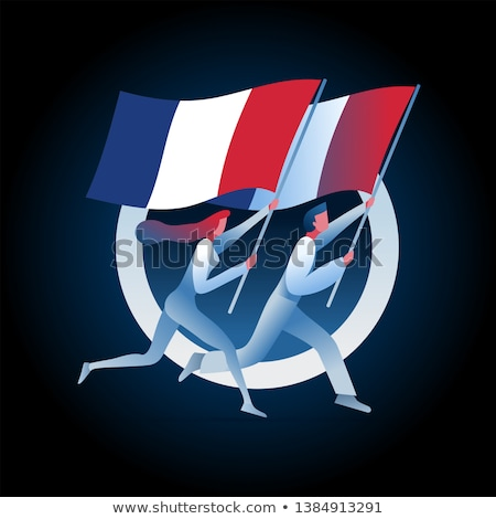 man and woman are running with french flags stock photo © sgursozlu