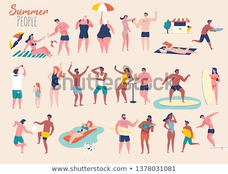 Lotado praia simples ilustração céu Foto stock © mpessaris