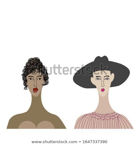 senhora · lábios · cômico · estilo · conjunto - foto stock © Blue_daemon