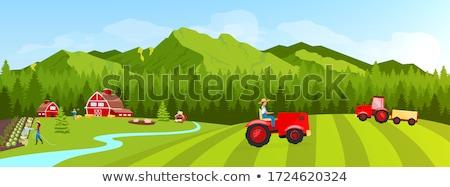 Сток-фото: фермер · сцена · иллюстрация · улыбка · трава
