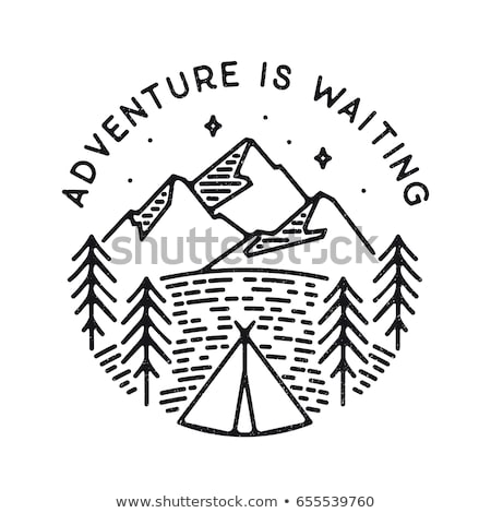 vintage hand drawn adventure poster with mountains tent camp car and quote   adventure awaits go f stock photo © jeksongraphics