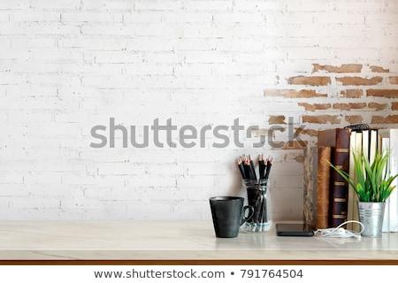 Ev ofis işyeri eski kitaplar bo Stok fotoğraf © karandaev