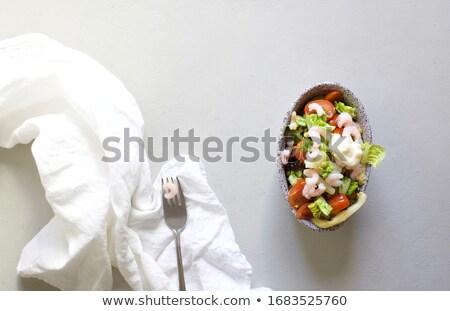 新鮮な サラダ アスパラガス 卵 エビ トマト ストックフォト © Melnyk