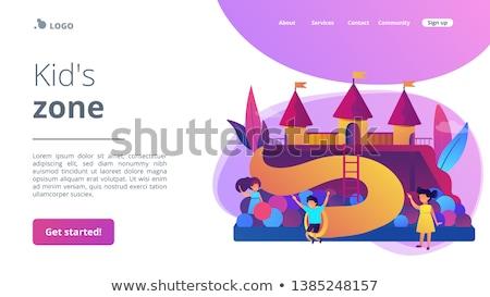 дети площадка посадка страница счастливым детей Сток-фото © RAStudio