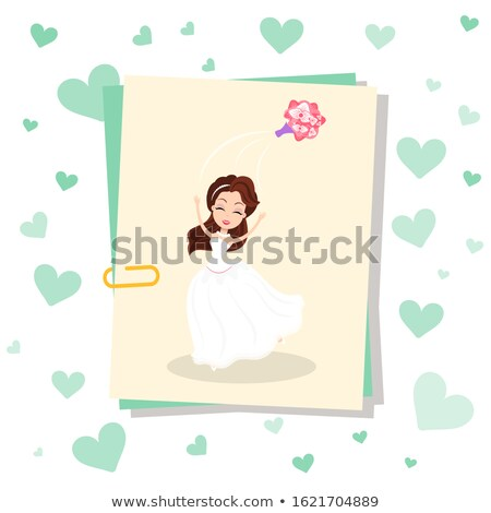 Photo Card on Clip Bride in Dress Throwing Bouquet Stock photo © robuart