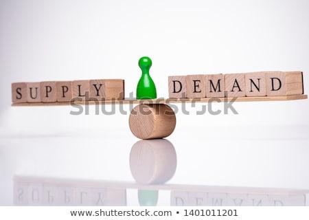 Szavak követelés ellátás mérleg fából készült egyensúlyoz Stock fotó © AndreyPopov