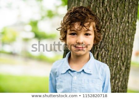 Sevimli kafkas erkek mutlulukla yakın ağaç Stok fotoğraf © Lopolo