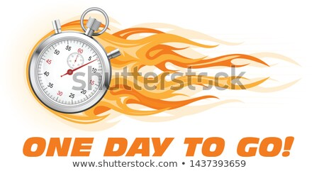 one day to go last chance hurry up   burning stopwatch icon stock photo © winner