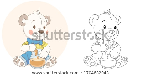 Aliments sucrés livre de coloriage cartoon illustration groupe Photo stock © izakowski