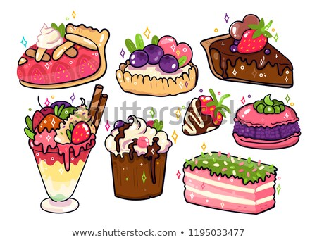 Cute macaroon with blueberry whip cream dessert cartoon hand dra Stock photo © amaomam