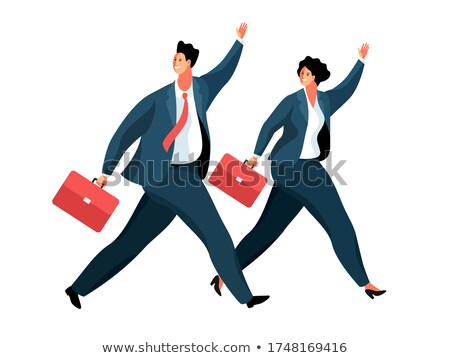 Running businesswoman isolated illustration Stock photo © tiKkraf69