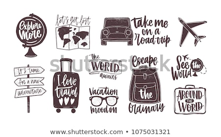Tourist Travel Backpack Suitcase Monochrome Vector Stock photo © pikepicture