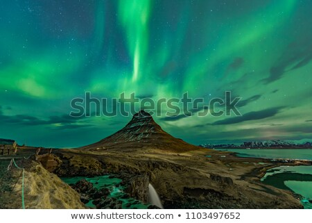 waterfall nothern lights stock photo © unkreatives