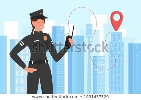 Desenho animado policial rua sorridente em pé cidade Foto stock © Voysla