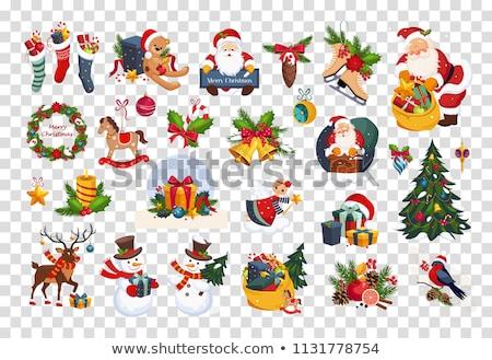 karácsony · gyertyák · hóember · játék · fenyőfa · dekoráció - stock fotó © karandaev