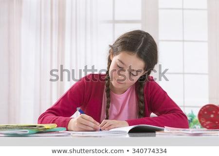 meisje · huiswerk · keuken · kind · schrijven · leren - stockfoto © lopolo