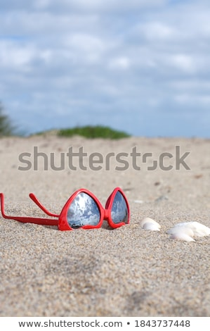 heart-shaped sunglasses and shells on beach sand Stock photo © dolgachov