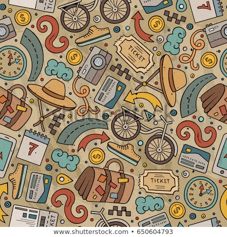 cartoon traveling seamless pattern with lots of objects stock photo © balabolka
