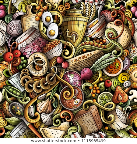 Cartoon doodles Russian food seamless pattern Stock photo © balabolka