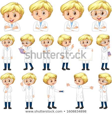 Menino ciência vestido diferente branco ilustração Foto stock © bluering