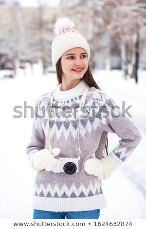 Portre kadın beyaz şapka yün Stok fotoğraf © ElenaBatkova